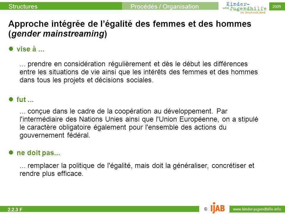 Approche intégrée de l'égalité des femmes et des hommes (gender mainstreaming)