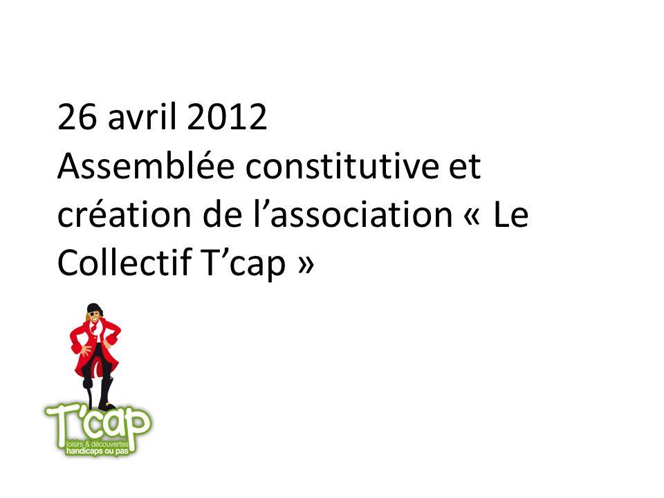 26 avril 2012 Assemblée constitutive et création de l'association « Le Collectif T'cap »