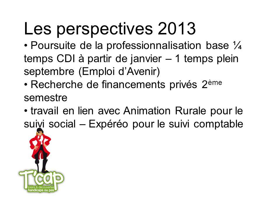 Les perspectives 2013 Poursuite de la professionnalisation base ¼ temps CDI à partir de janvier – 1 temps plein septembre (Emploi d'Avenir)