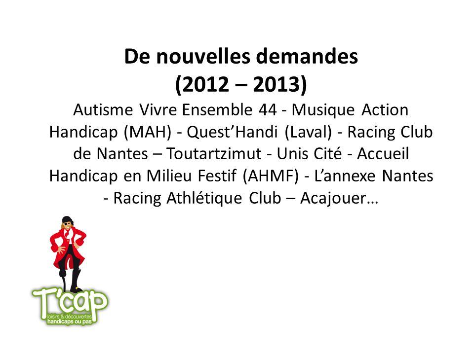 De nouvelles demandes (2012 – 2013) Autisme Vivre Ensemble 44 - Musique Action Handicap (MAH) - Quest'Handi (Laval) - Racing Club de Nantes – Toutartzimut - Unis Cité - Accueil Handicap en Milieu Festif (AHMF) - L'annexe Nantes - Racing Athlétique Club – Acajouer…