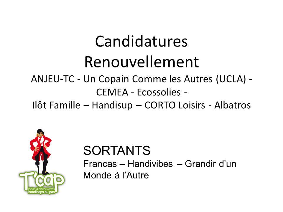 Candidatures Renouvellement ANJEU-TC - Un Copain Comme les Autres (UCLA) - CEMEA - Ecossolies - Ilôt Famille – Handisup – CORTO Loisirs - Albatros