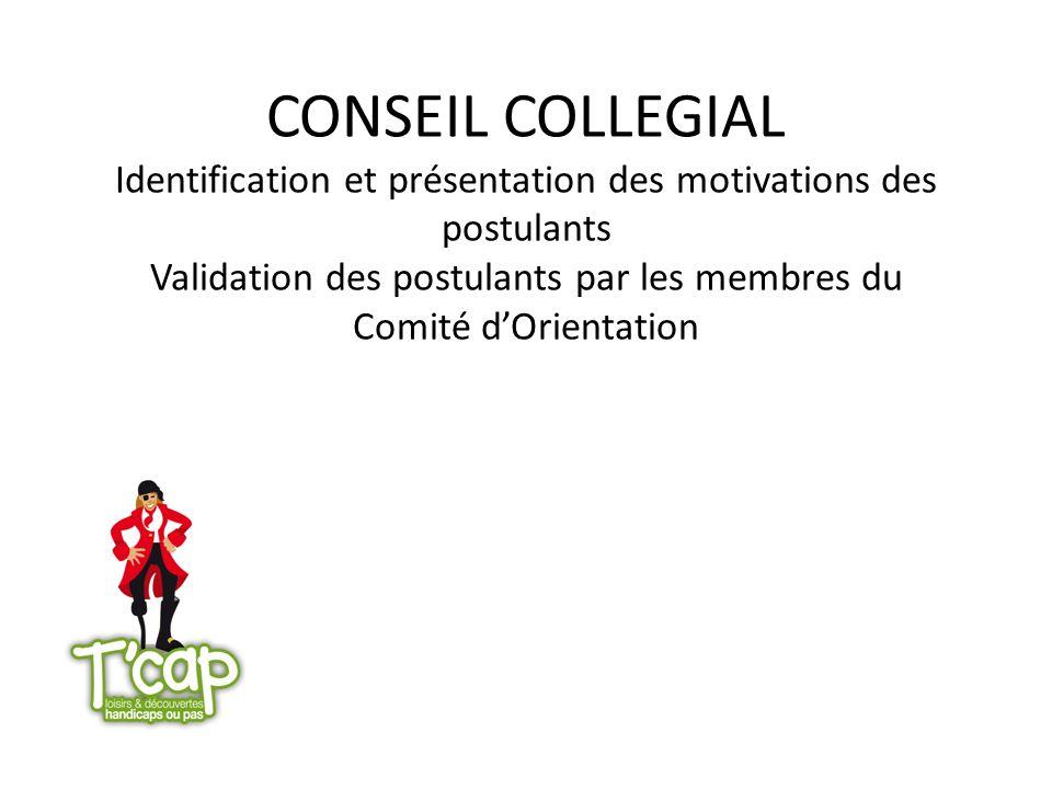CONSEIL COLLEGIAL Identification et présentation des motivations des postulants Validation des postulants par les membres du Comité d'Orientation