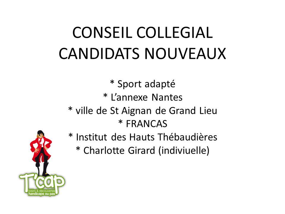 CONSEIL COLLEGIAL CANDIDATS NOUVEAUX. Sport adapté. L'annexe Nantes
