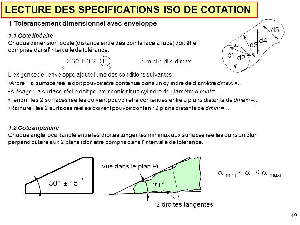 LECTURE DES SPECIFICATIONS ISO DE COTATION