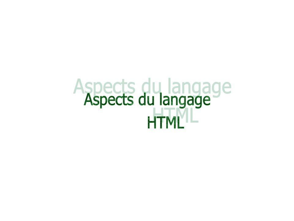 Aspects du langage HTML