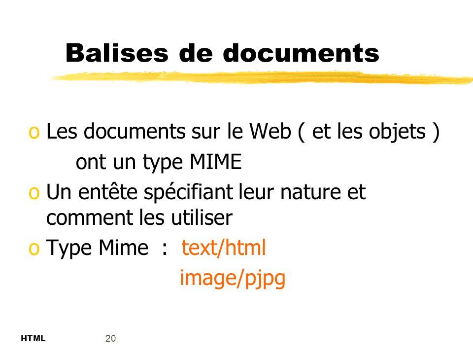 Balises de documents Les documents sur le Web ( et les objets )