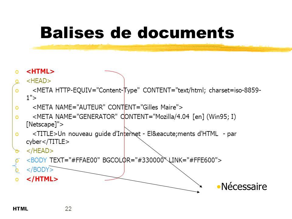 Balises de documents Nécessaire <HTML> <HEAD>
