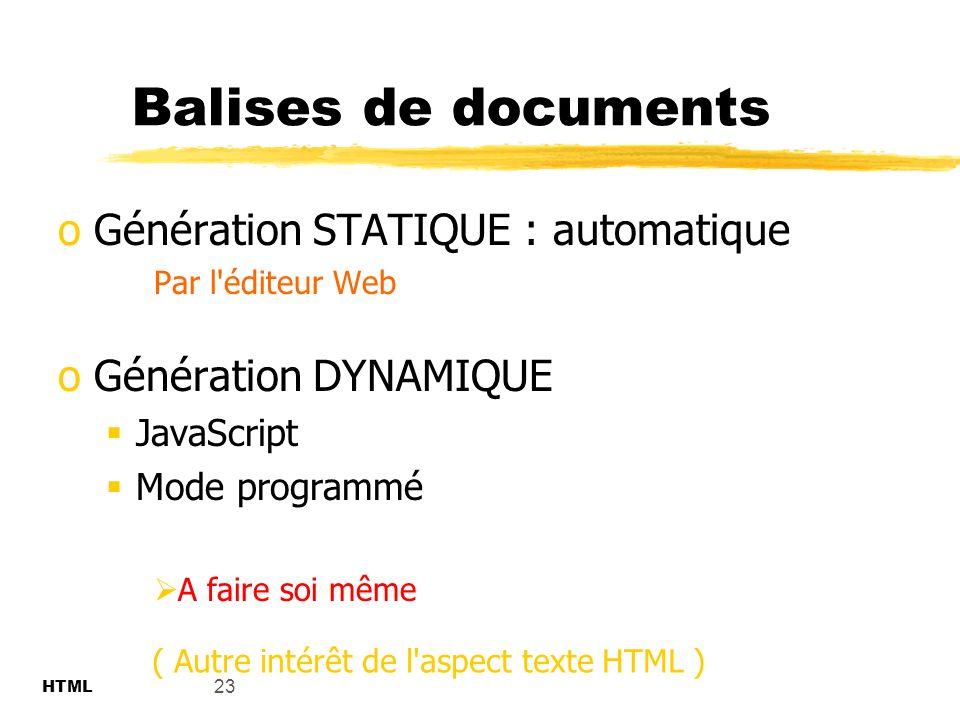 Balises de documents Génération STATIQUE : automatique