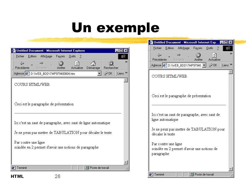 Un exemple 26 HTML