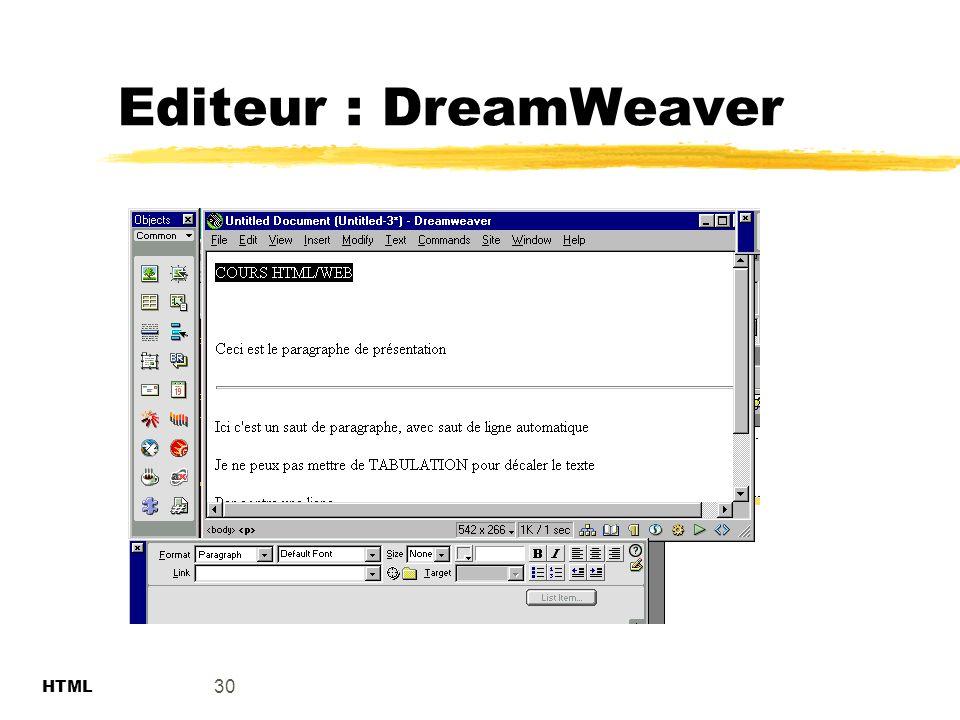 Editeur : DreamWeaver 30 HTML