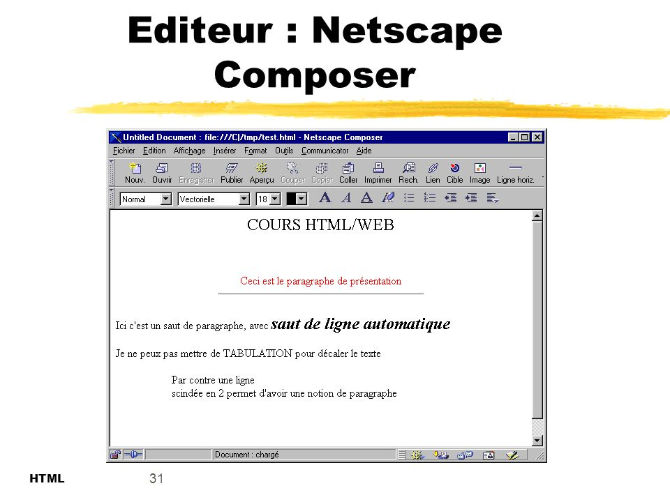 Editeur : Netscape Composer