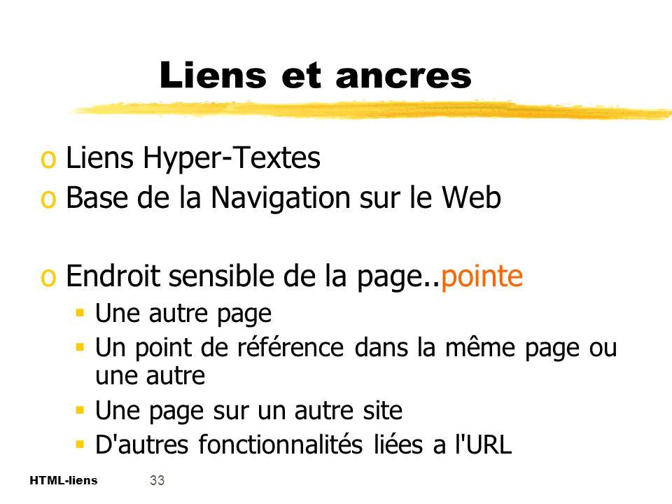 Liens et ancres Liens Hyper-Textes Base de la Navigation sur le Web