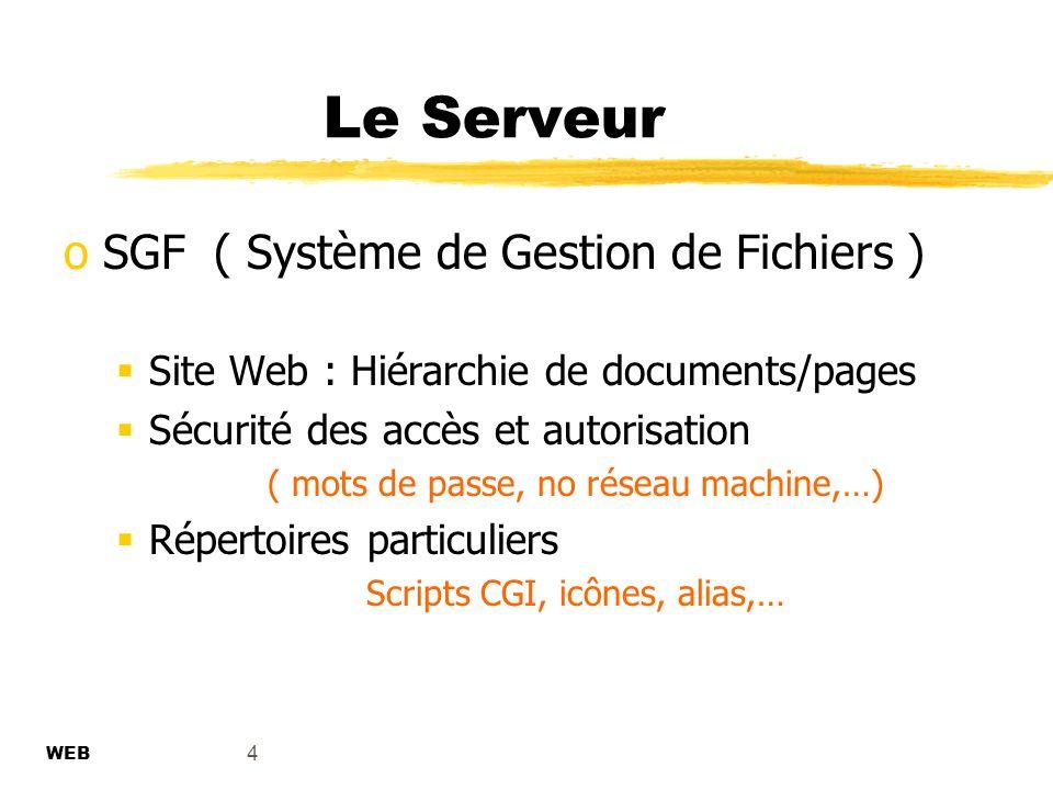 Le Serveur SGF ( Système de Gestion de Fichiers )