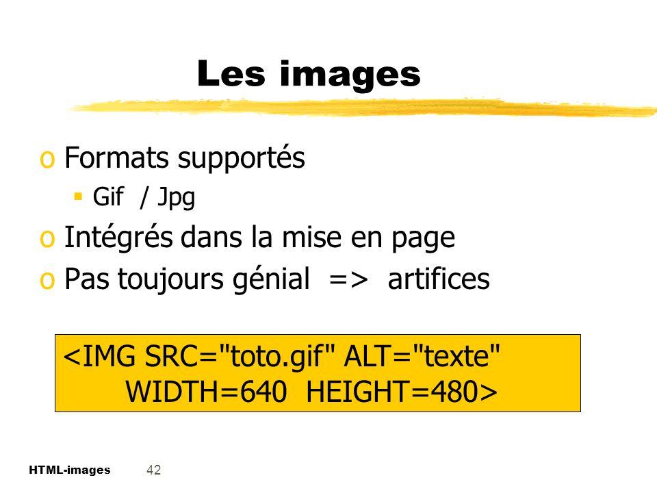 Les images Formats supportés Intégrés dans la mise en page