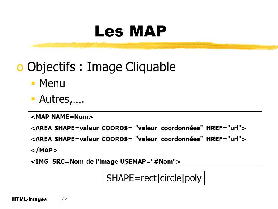 Les MAP Objectifs : Image Cliquable Menu Autres,….