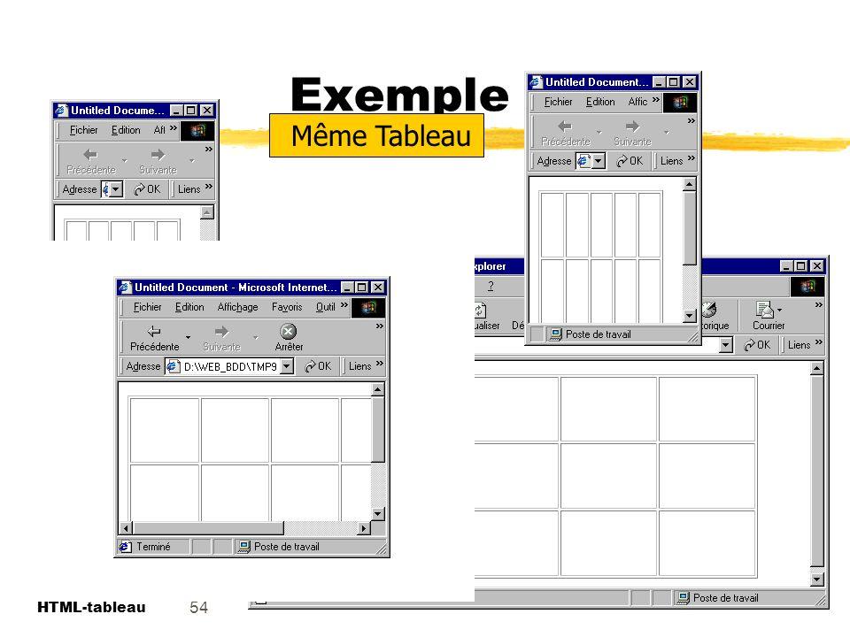 Exemple Même Tableau. Le tableau peut s adapter à la dimension de la fenêtre du navigateur. 54. HTML.