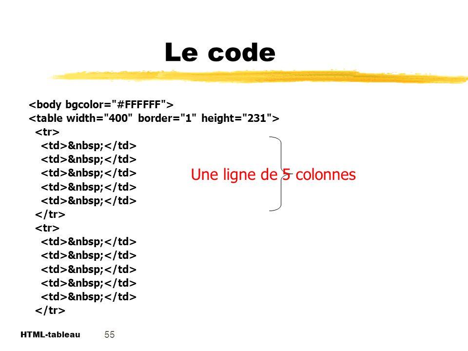 Le code Une ligne de 5 colonnes <body bgcolor= #FFFFFF >
