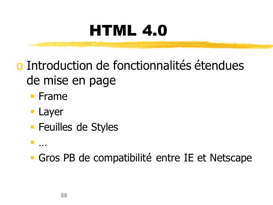 HTML 4.0 Introduction de fonctionnalités étendues de mise en page