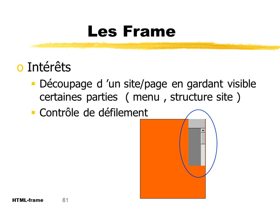 Les Frame Intérêts. Découpage d 'un site/page en gardant visible certaines parties ( menu , structure site )