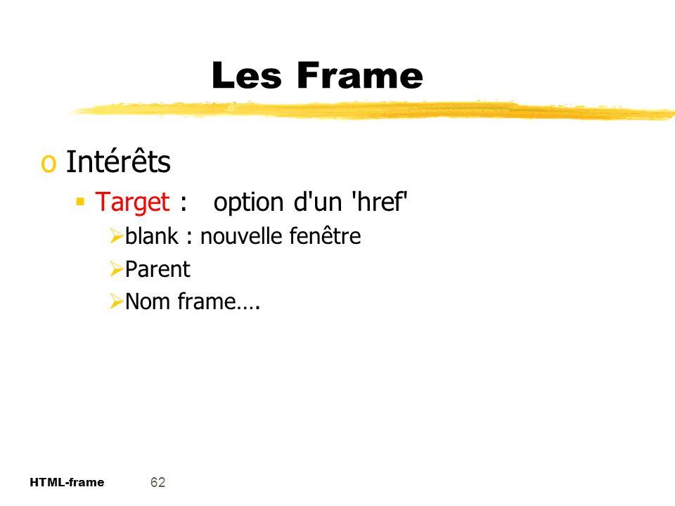 Les Frame Intérêts Target : option d un href