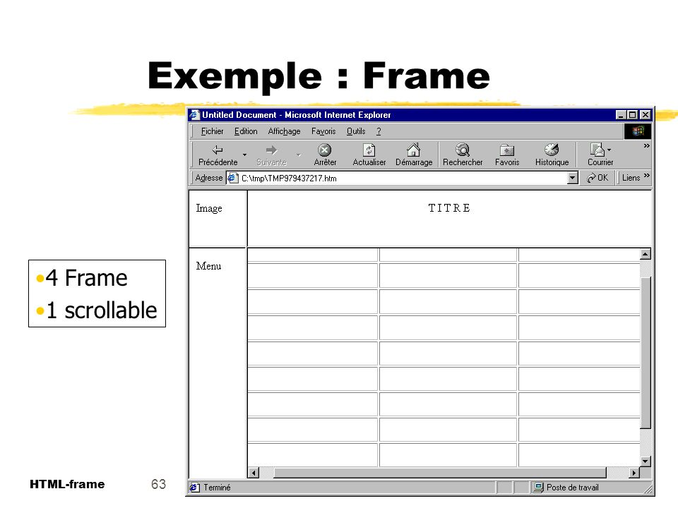 Exemple : Frame 4 Frame 1 scrollable 63 HTML-frame HTML