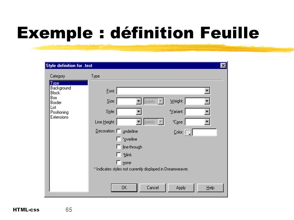 Exemple : définition Feuille
