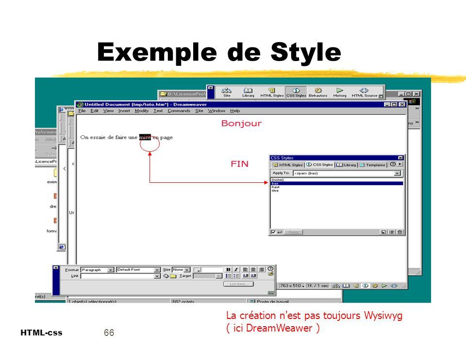 Exemple de Style La création n est pas toujours Wysiwyg ( ici DreamWeawer ) 66 HTML-css