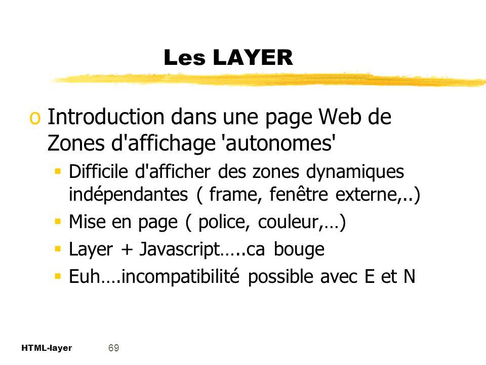 Introduction dans une page Web de Zones d affichage autonomes