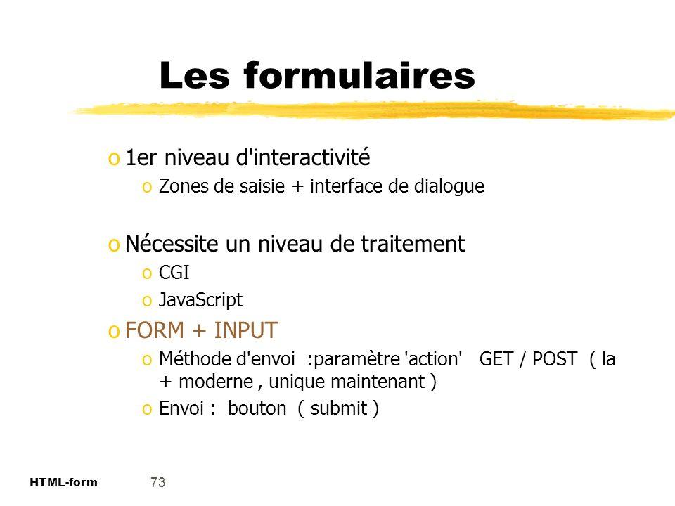 Les formulaires 1er niveau d interactivité