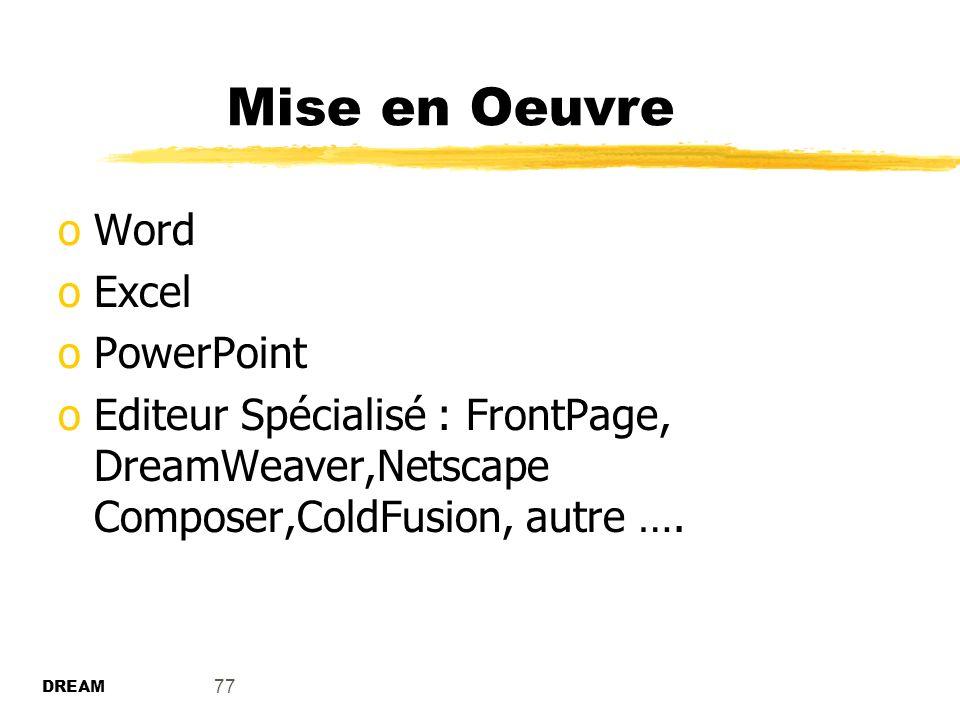 Mise en Oeuvre Word Excel PowerPoint