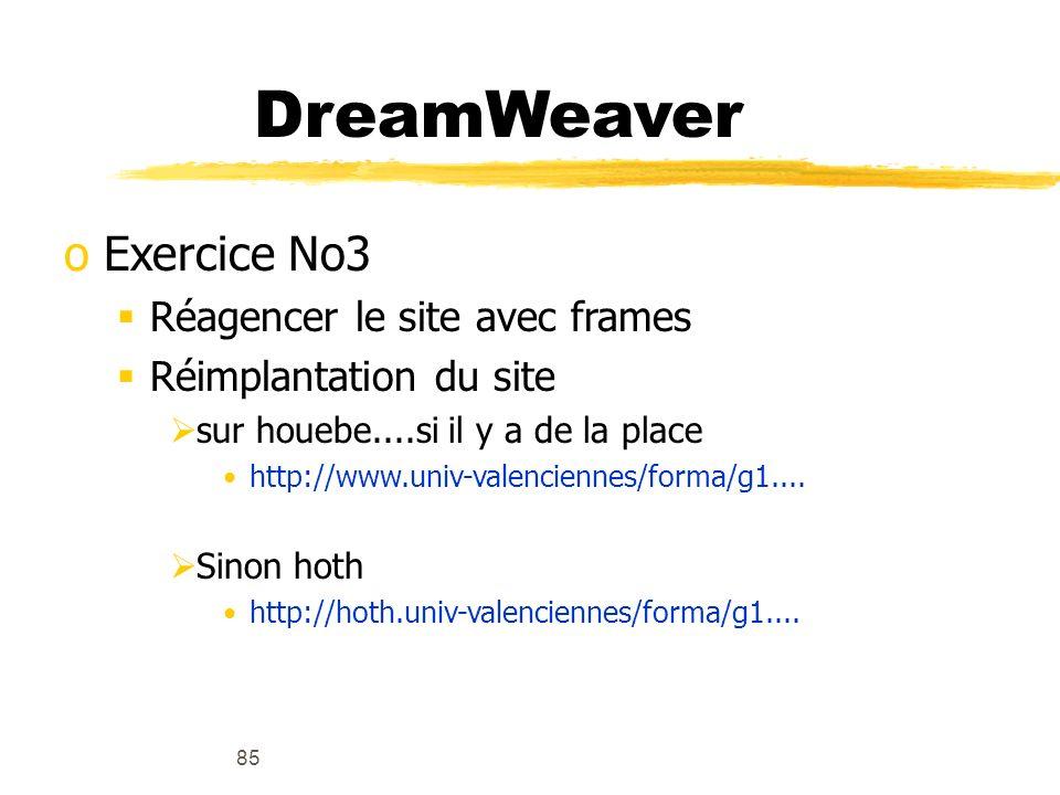 DreamWeaver Exercice No3 Réagencer le site avec frames