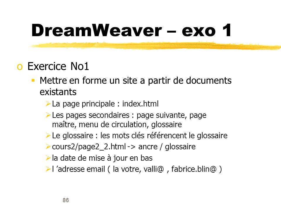 DreamWeaver – exo 1 Exercice No1