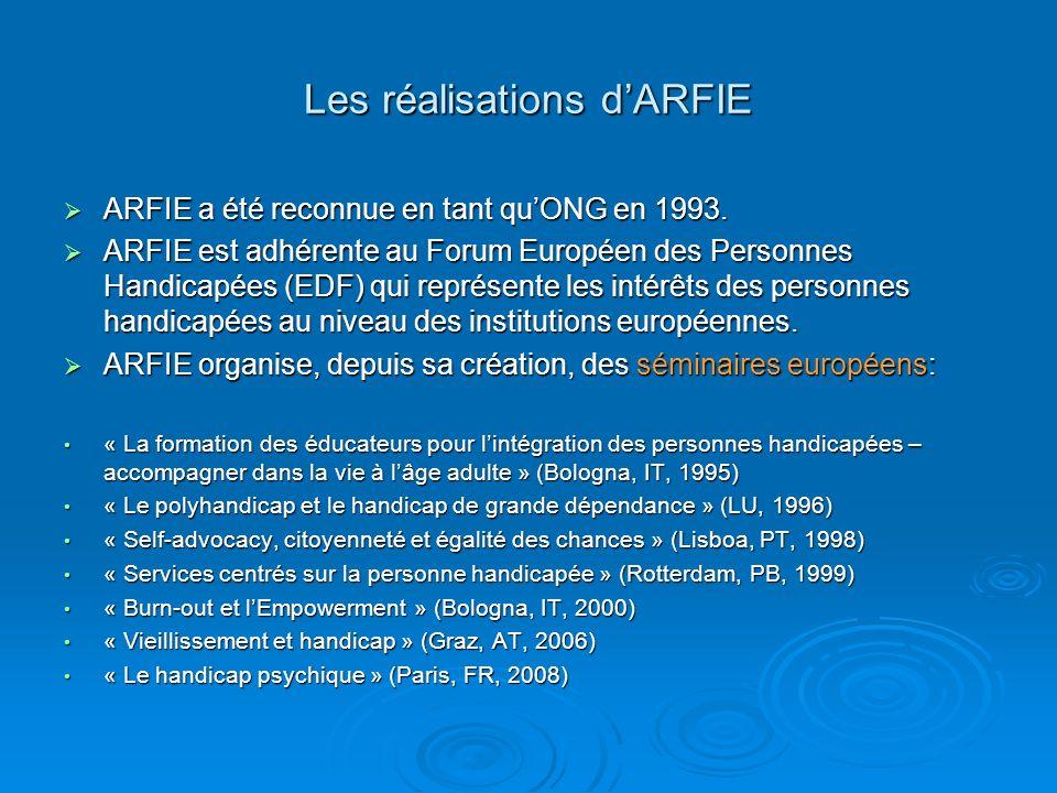 Les réalisations d'ARFIE