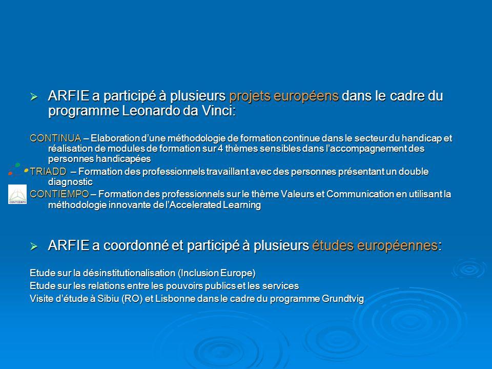 ARFIE a coordonné et participé à plusieurs études européennes: