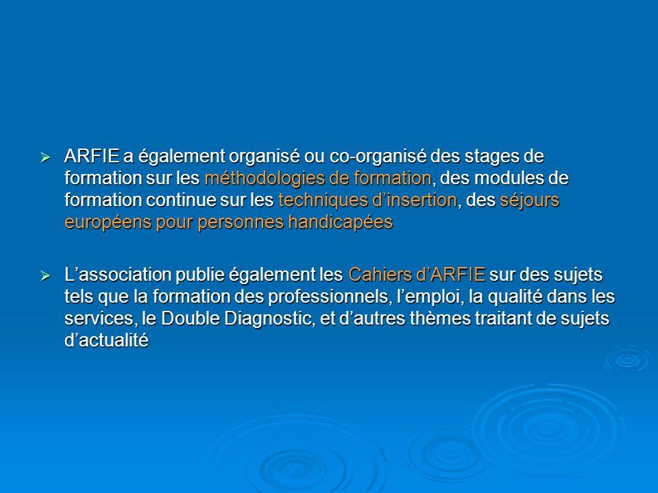 ARFIE a également organisé ou co-organisé des stages de formation sur les méthodologies de formation, des modules de formation continue sur les techniques d'insertion, des séjours européens pour personnes handicapées