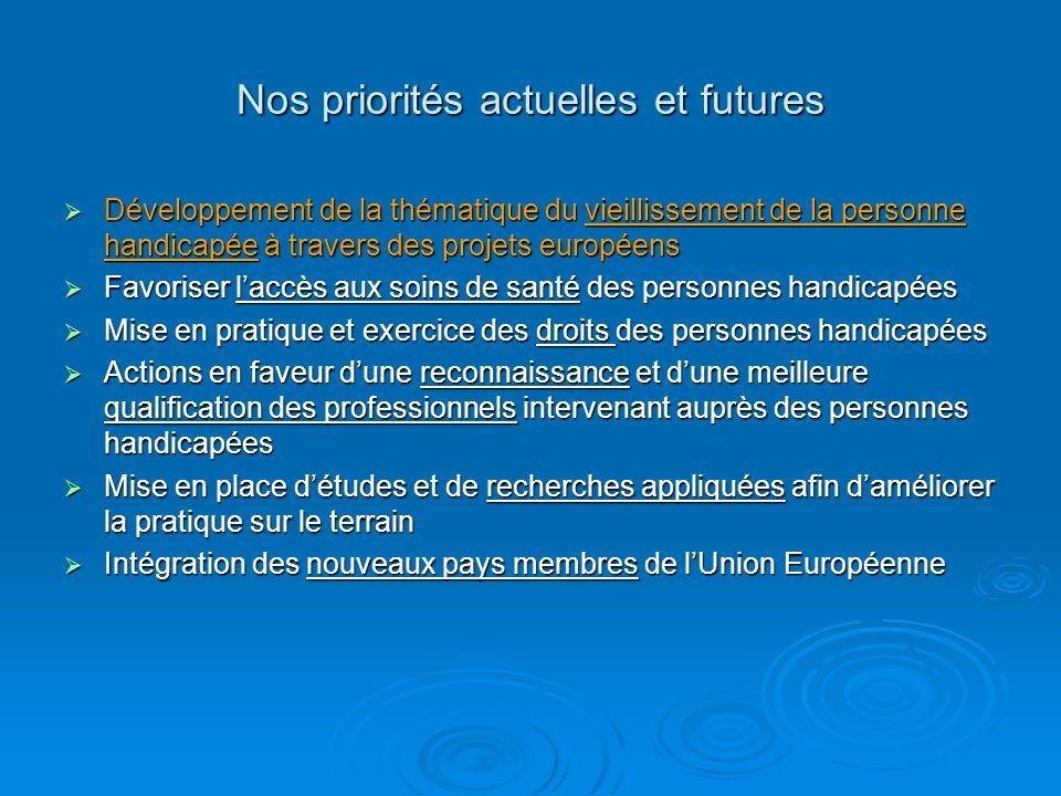 Nos priorités actuelles et futures