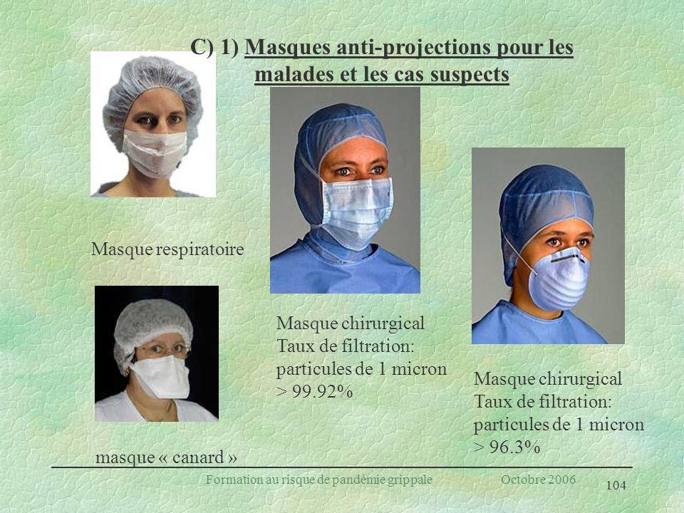 C) 1) Masques anti-projections pour les malades et les cas suspects