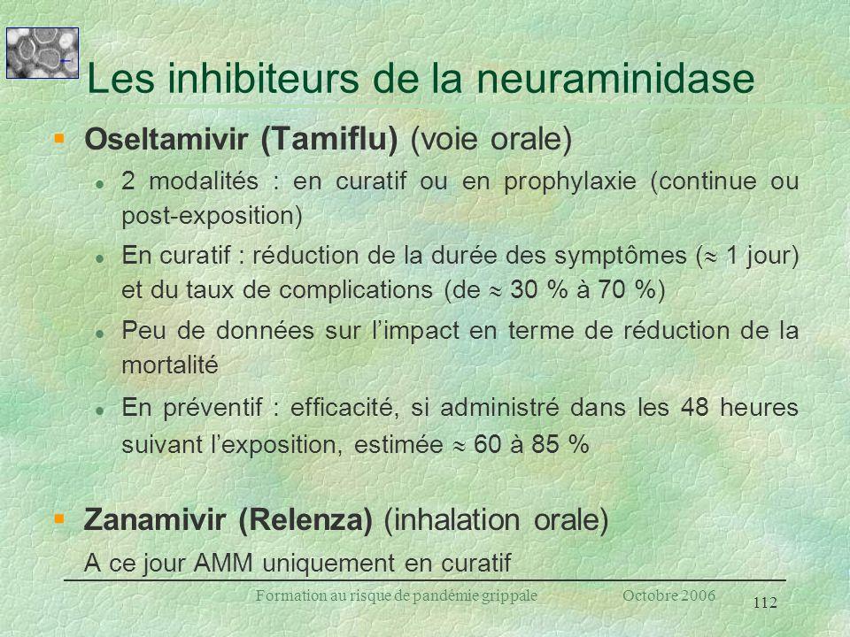 Les inhibiteurs de la neuraminidase