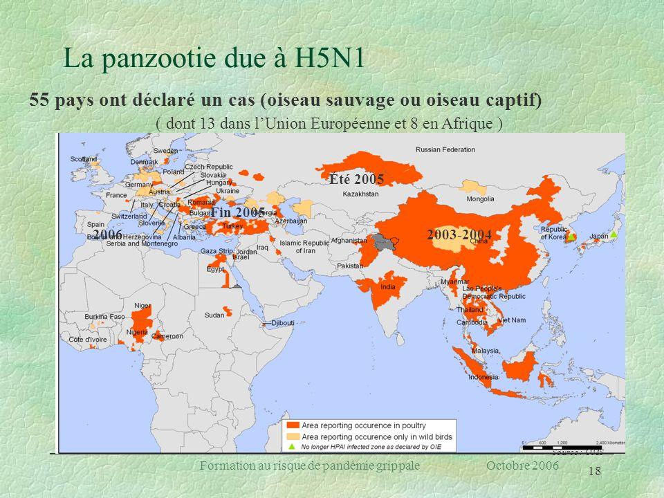 La panzootie due à H5N1 55 pays ont déclaré un cas (oiseau sauvage ou oiseau captif) ( dont 13 dans l'Union Européenne et 8 en Afrique )