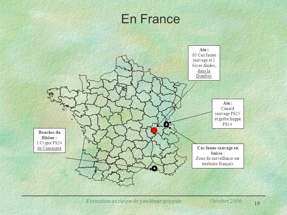 En France Formation au risque de pandémie grippale Octobre 2006 Ain :