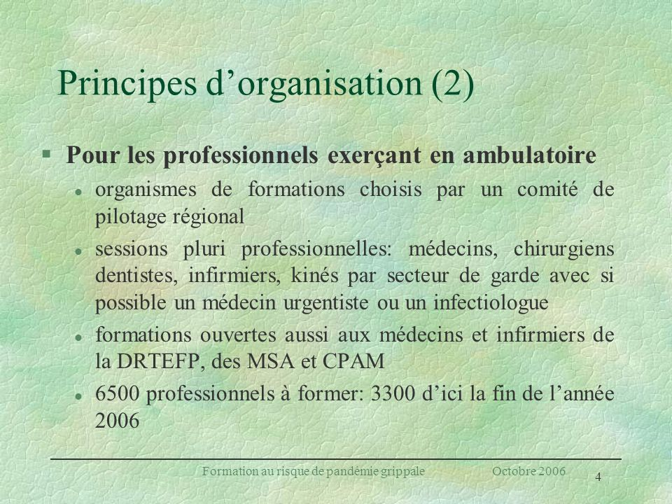 Principes d'organisation (2)