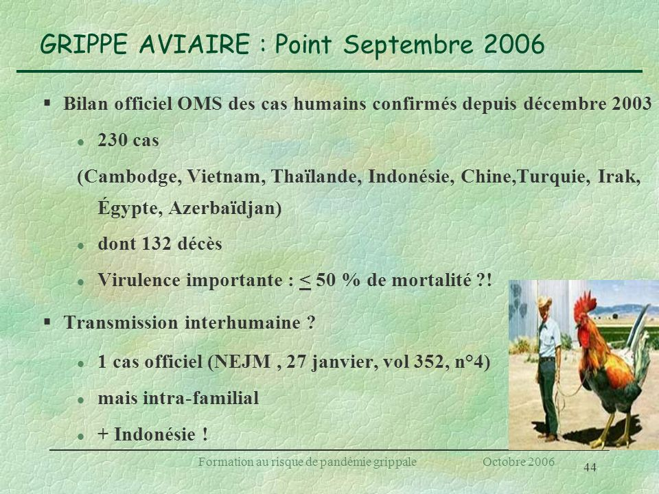 GRIPPE AVIAIRE : Point Septembre 2006