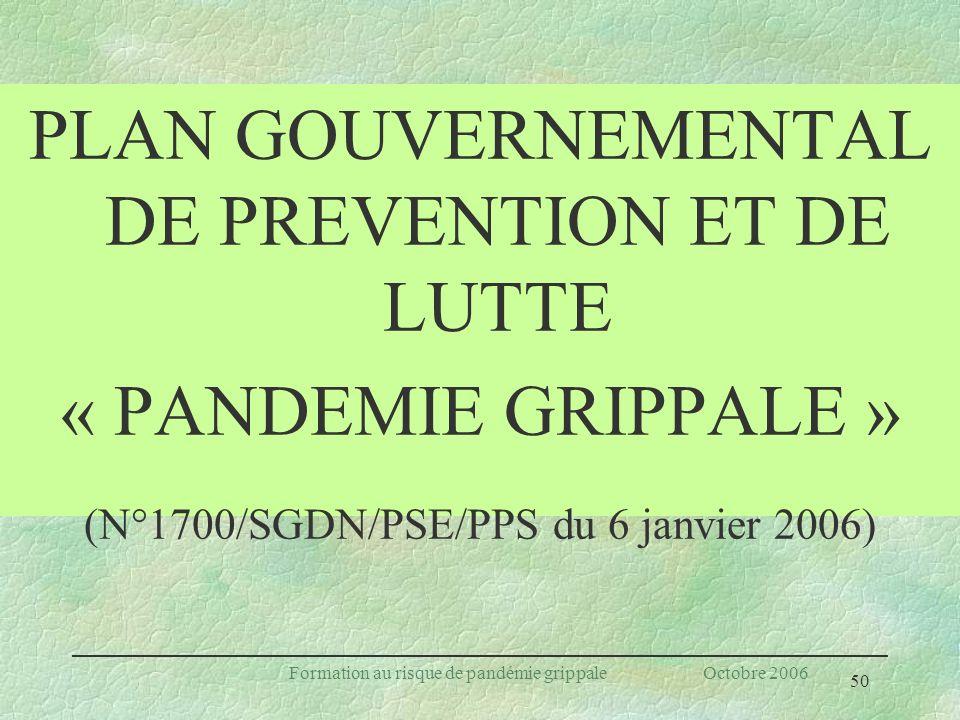 PLAN GOUVERNEMENTAL DE PREVENTION ET DE LUTTE
