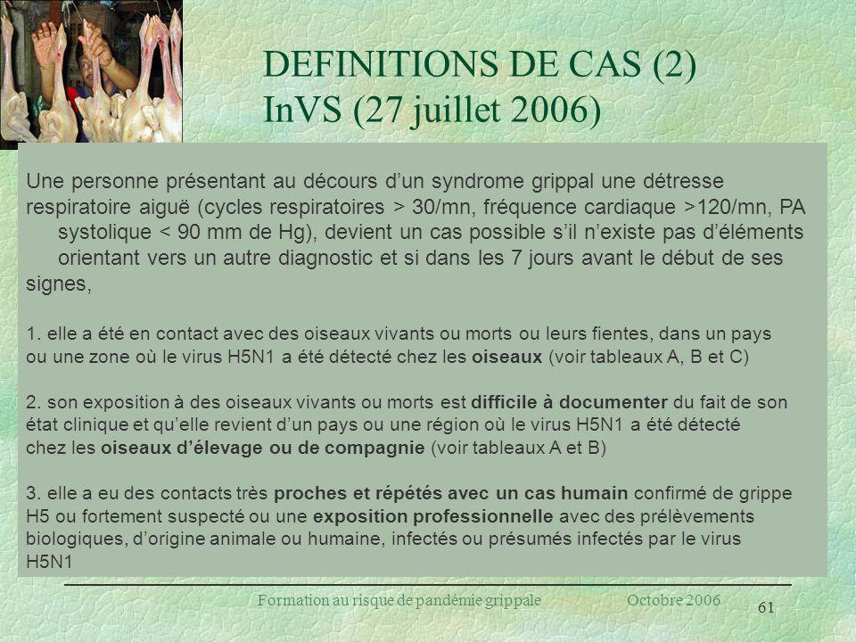 DEFINITIONS DE CAS (2) InVS (27 juillet 2006)