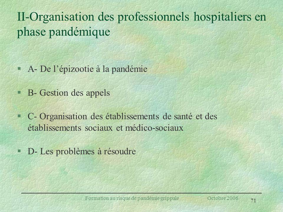 II-Organisation des professionnels hospitaliers en phase pandémique
