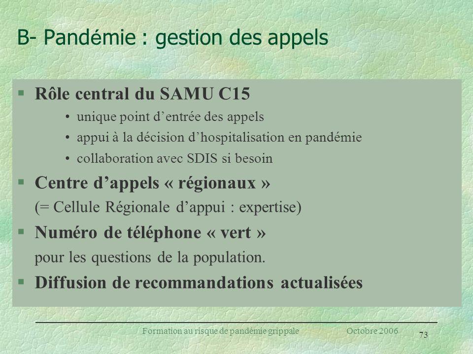 B- Pandémie : gestion des appels