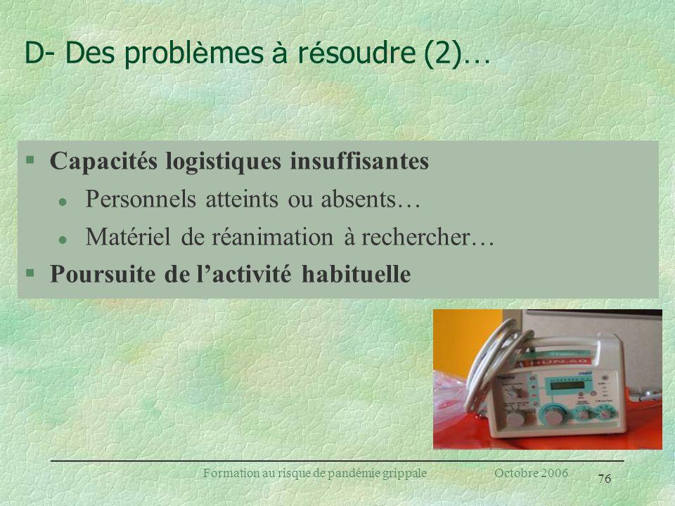 D- Des problèmes à résoudre (2)…