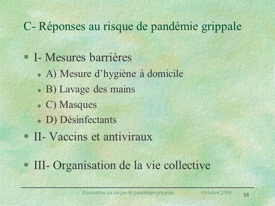 C- Réponses au risque de pandémie grippale