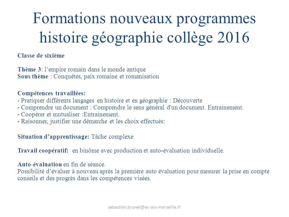 Formations nouveaux programmes histoire géographie collège 2016