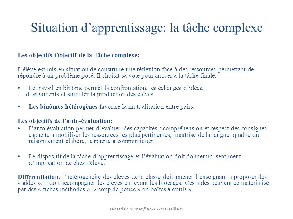 Situation d'apprentissage: la tâche complexe